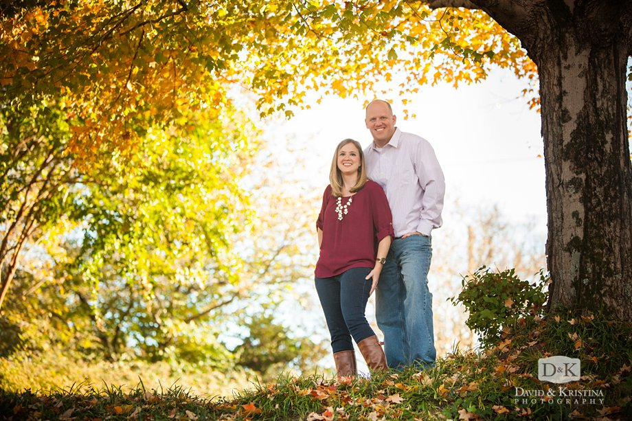 yellow autumn color for engagement photos