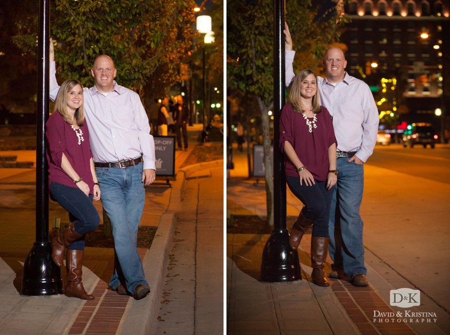 night time urban street engagement photos with city lights in background