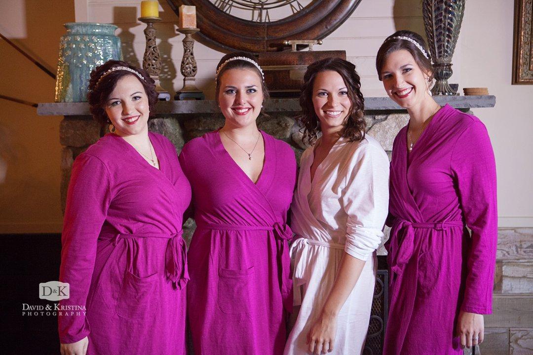 bridesmaids in purple robes
