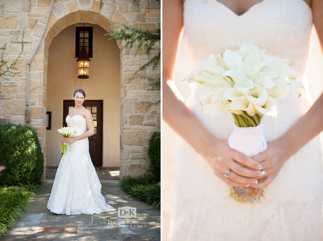 bridal portrait holding bouquet at Founders Hall Chapel