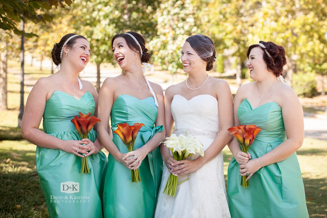 bride and bridesmaids in teal dresses
