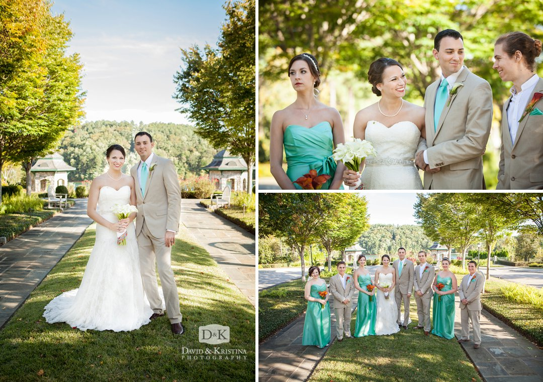bride and groom with wedding party on lawn at the Village Market