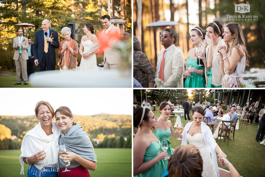 family and friends gather and mingle at wedding reception on lawn of Orchard Clubhouse
