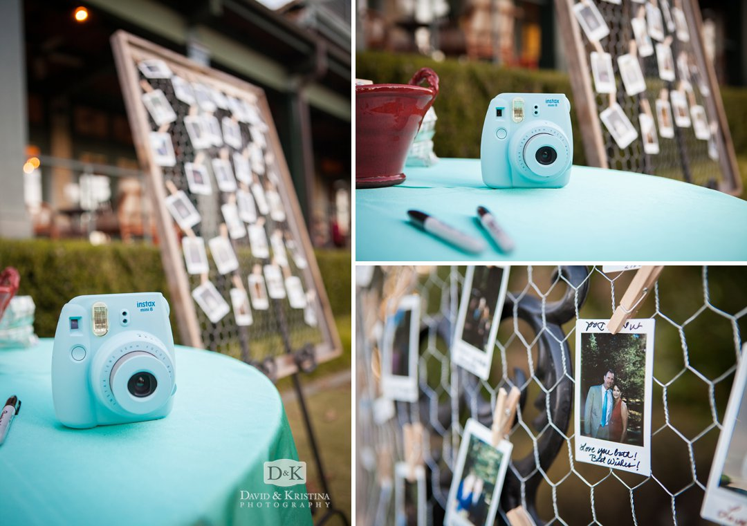 polaroid style photos with instax camera at wedding reception