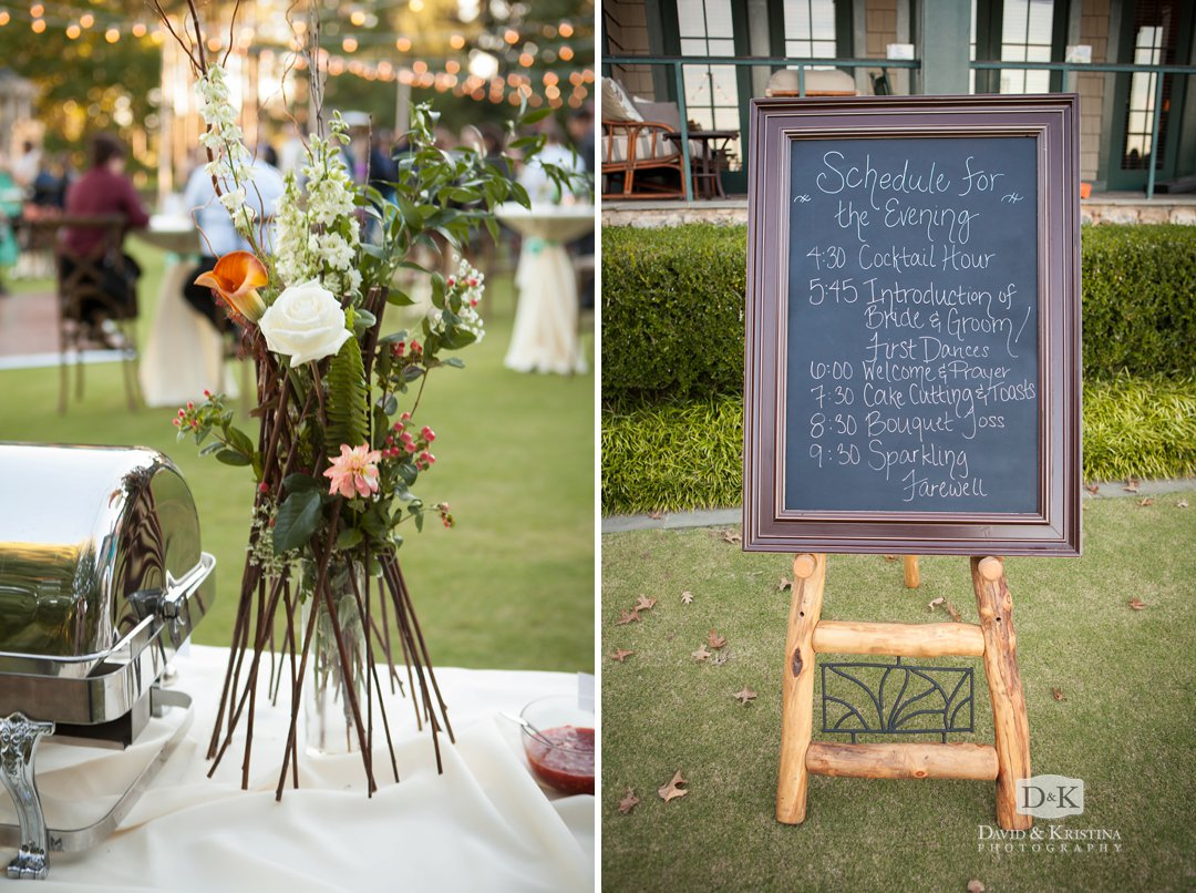 chalkboard with wedding reception schedule