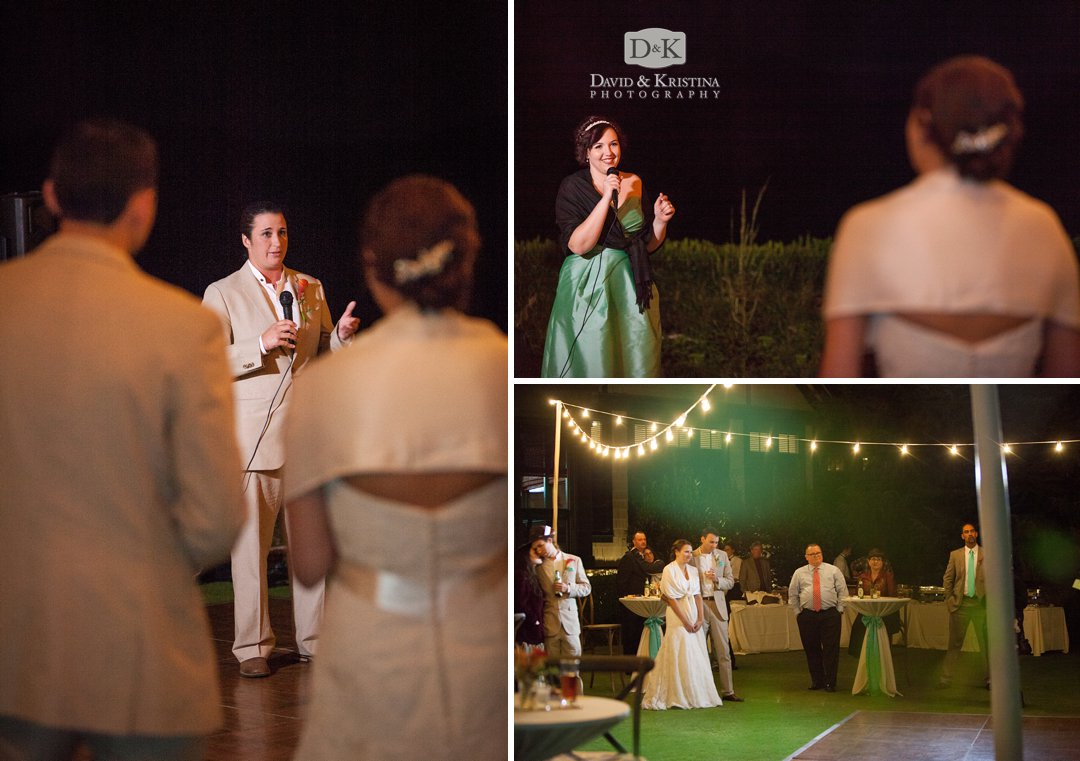 toasts by wedding party at outdoor reception under strand lights
