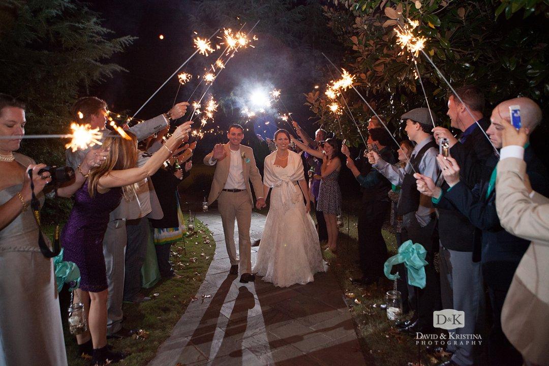 sparkler exit at Reserve at Lake Keowee wedding
