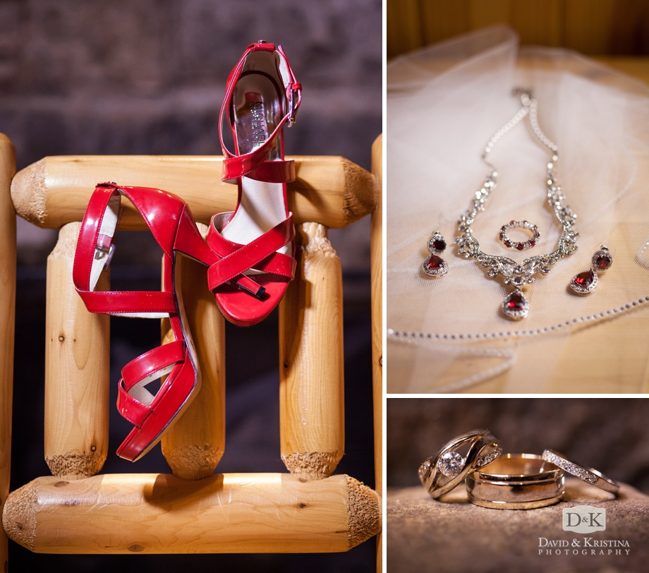 red shoes and jewelry for wedding