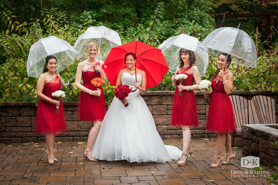 bride and bridesmaids with clear umbrellas