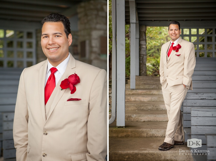 groom portrait at pretty place