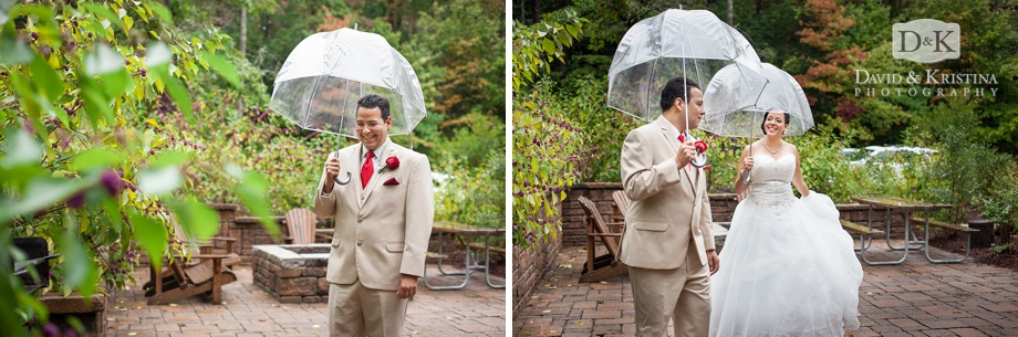 bride and groom first look with clear umbrellas