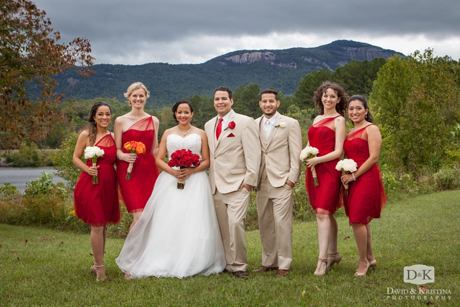 Table Rock in the background of wedding photos at the Visitor Center