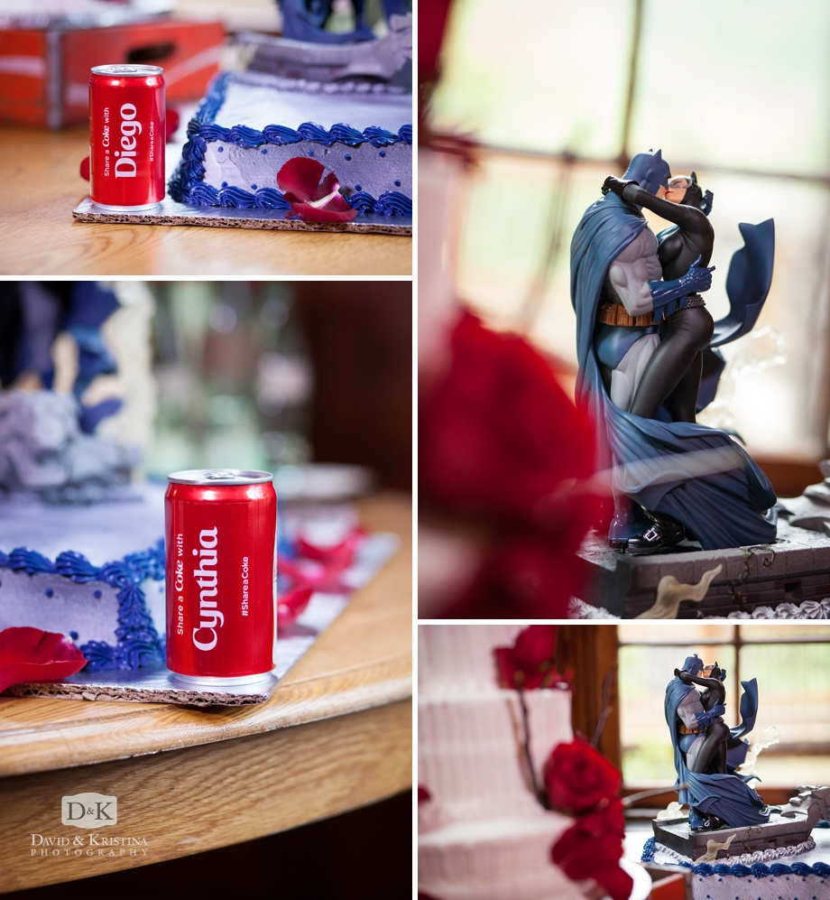 superhero batman and catwoman cake with personalized CocaCola cans