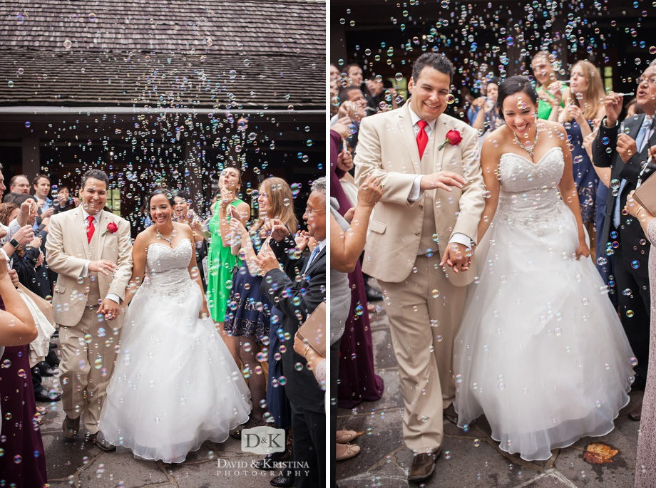 bride and groom exit through bubbles at Table Rock Lodge