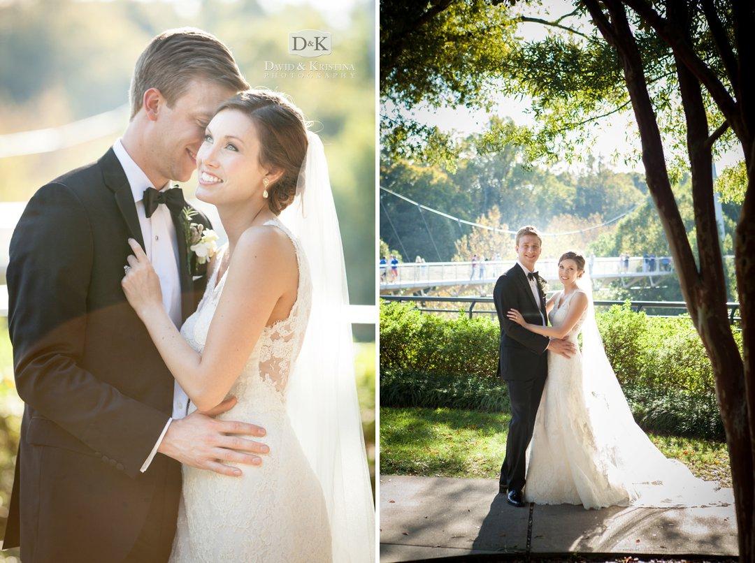 bride and groom wedding photos at Liberty Bridge Greenville SC
