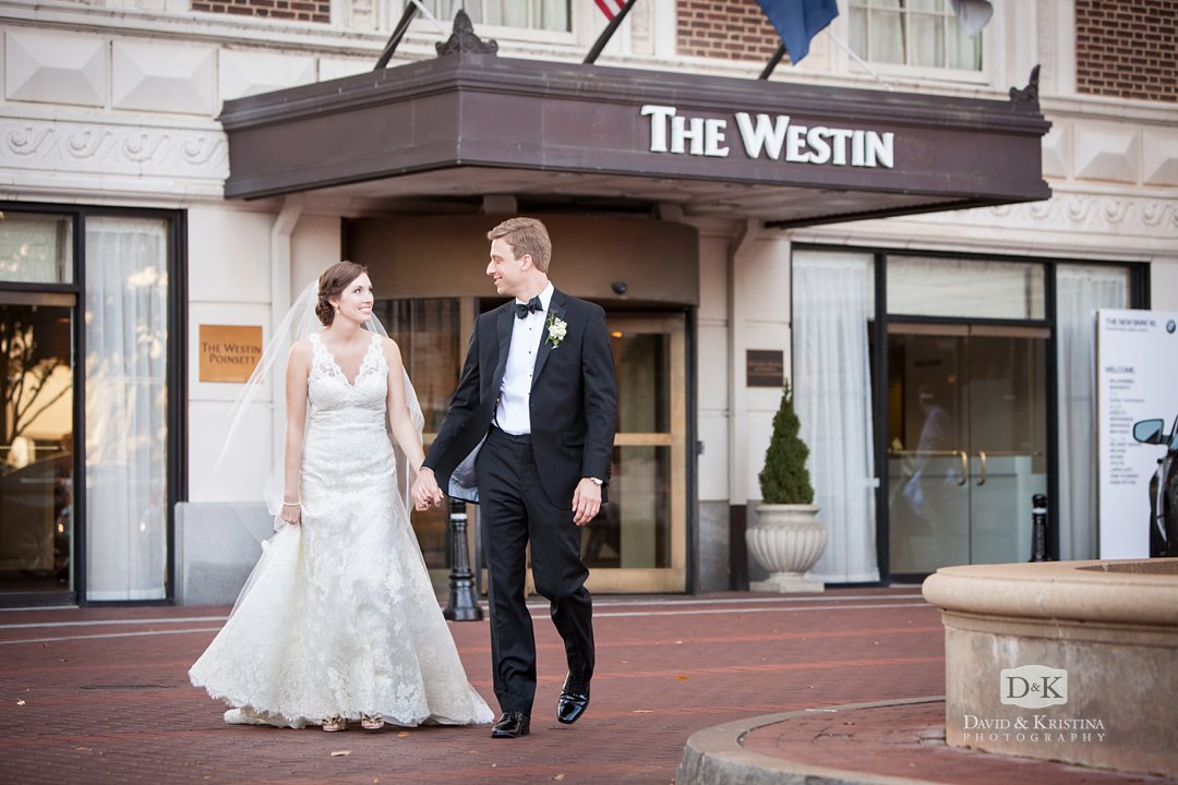 bride and groom at Westin Poinsett wedding