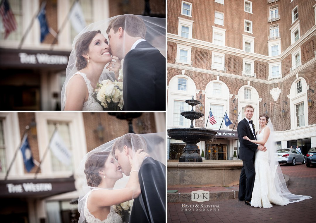 bride and groom in front of fountain at The Westin Poinsett Hotel before wedding reception