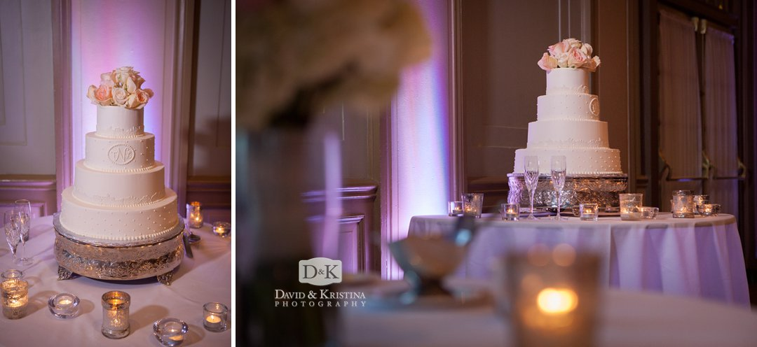 wedding cake by Couture Cakes at Westin Poinsett Hotel