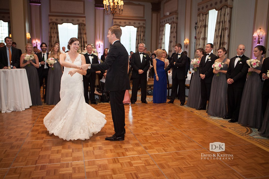 Thomas and Laura share their first dance in the Poinsett Ballroom