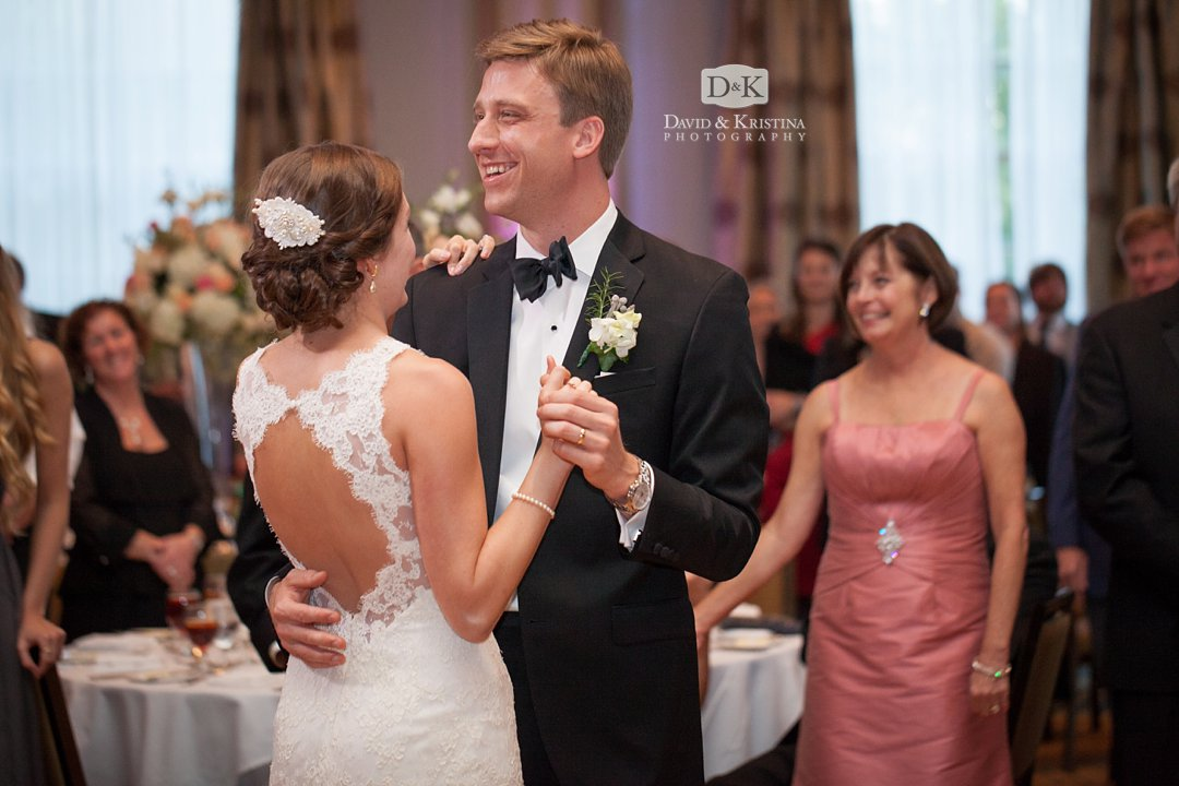 Thomas smiling during his first dance with Laura