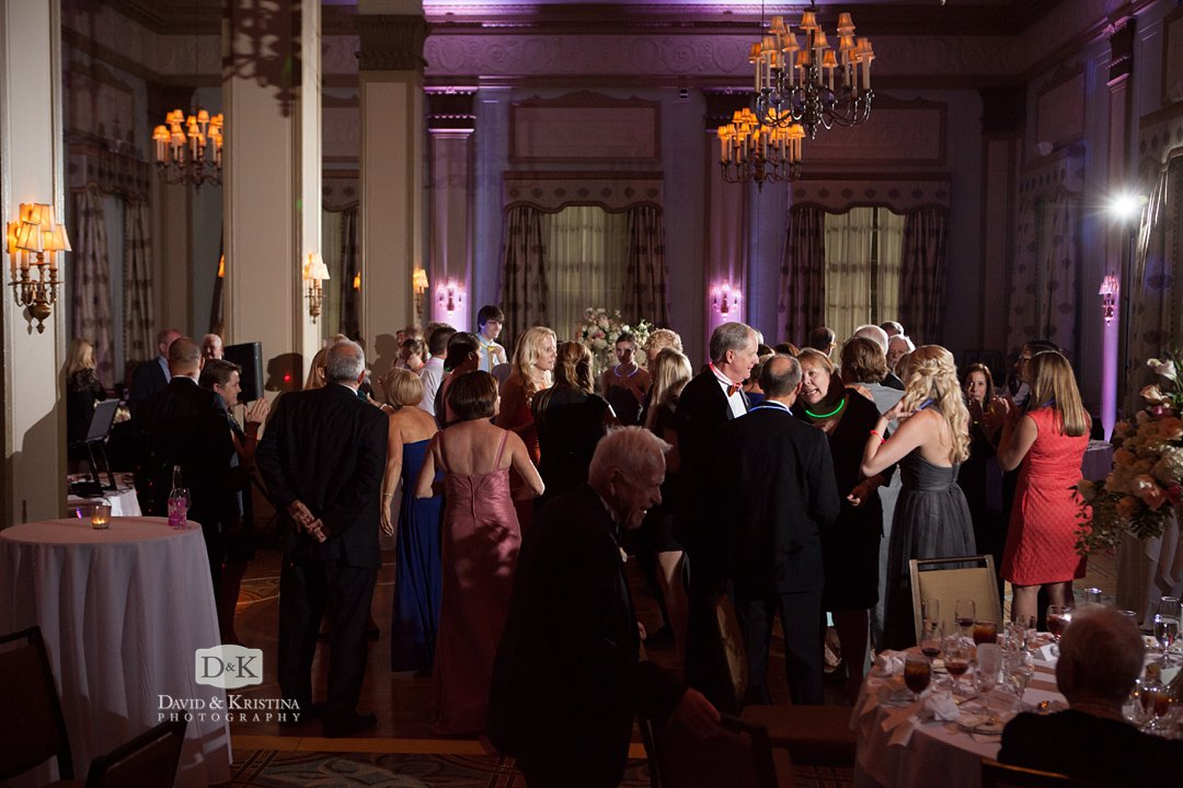 wedding reception in Poinsett Ballroom in The Westin Poinsett Hotel