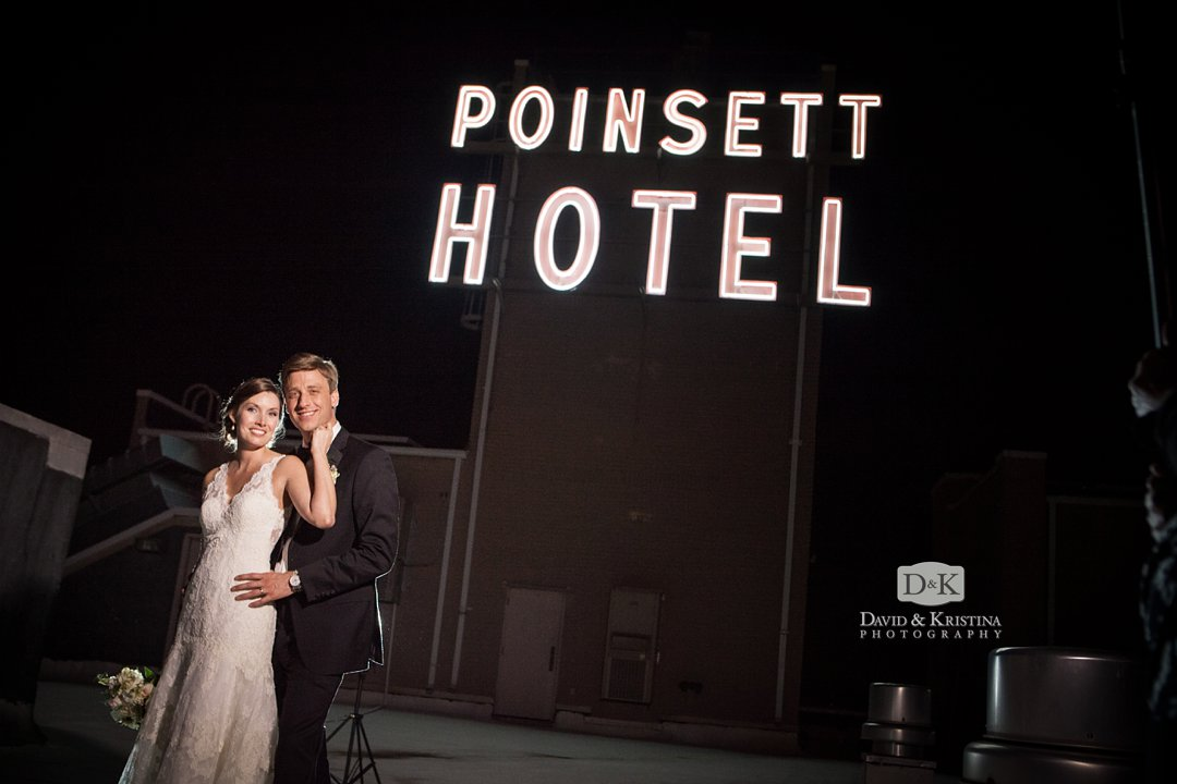 rooftop of Poinsett Hotel wedding photos
