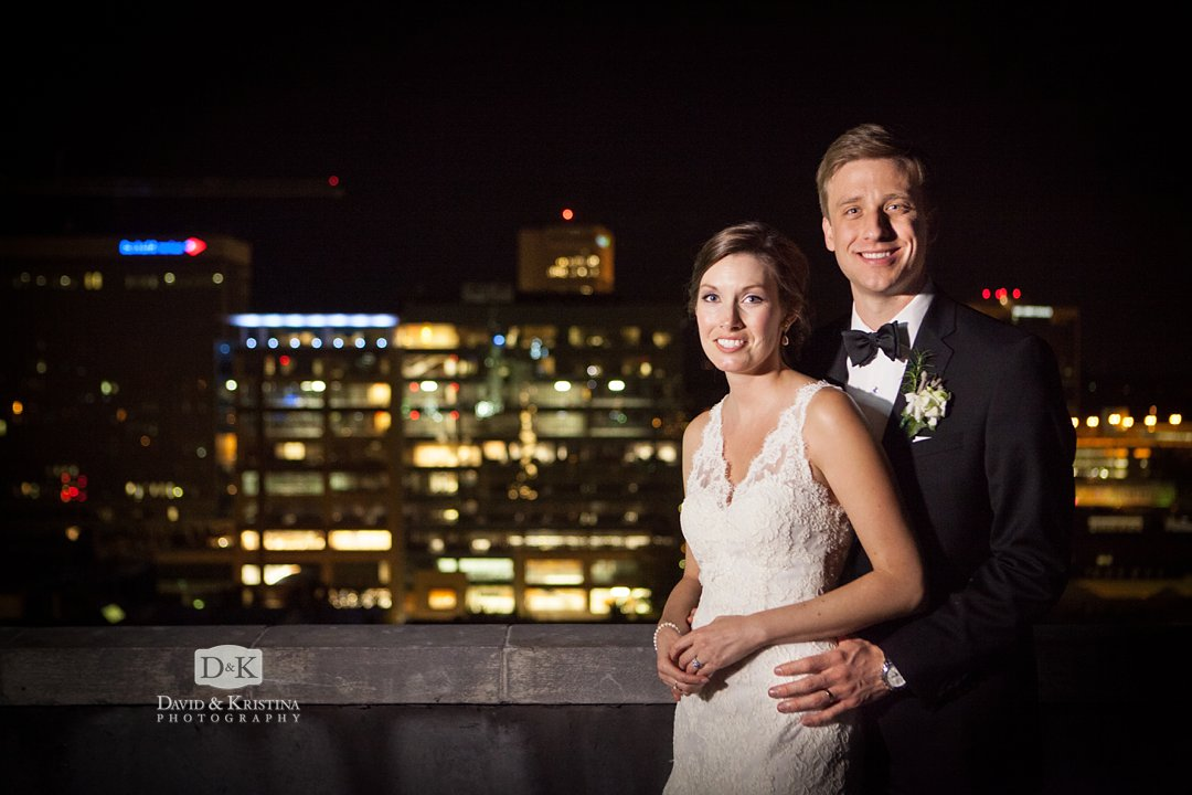 bride and groom on Rooftop of Westin Poinsett
