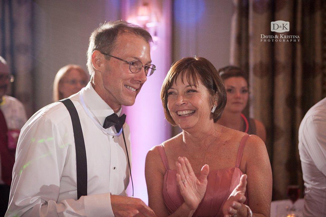 parents of bride at wedding reception