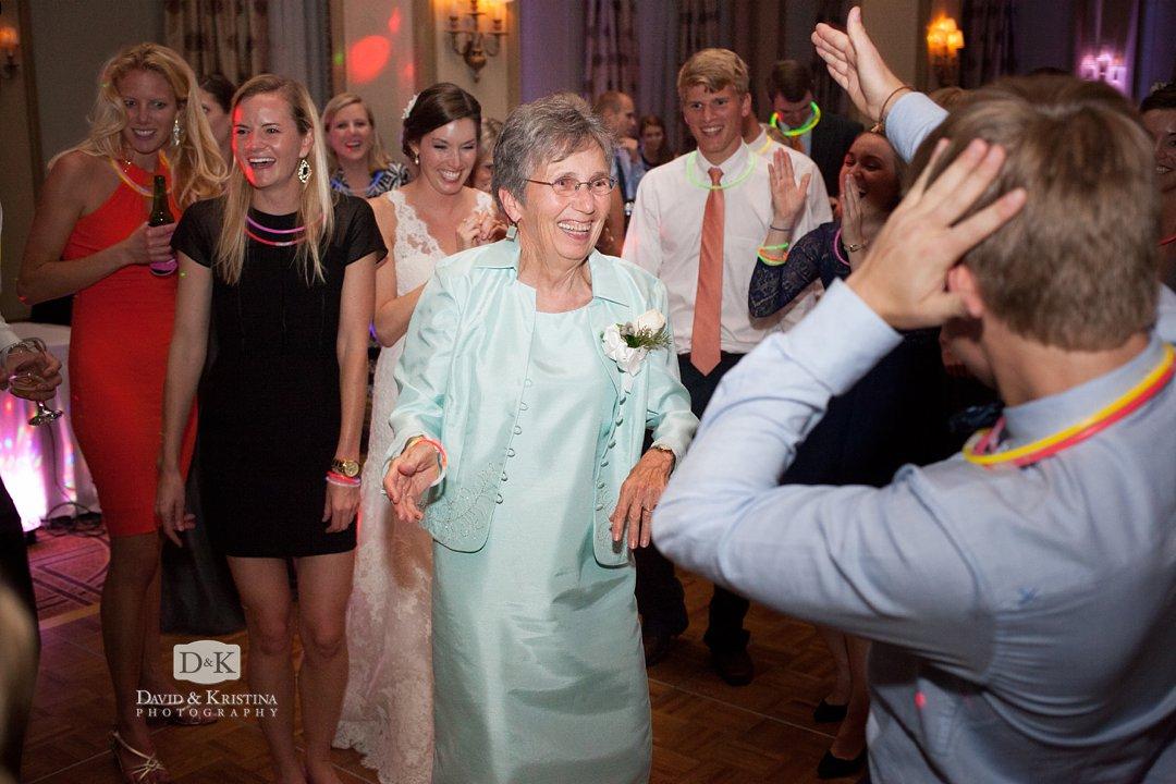 grandmother dancing at wedding reception