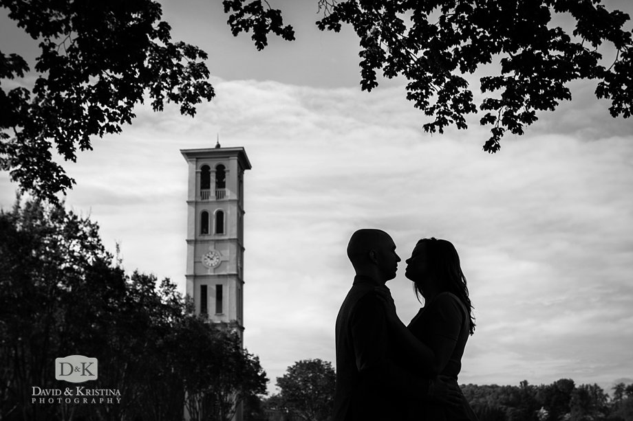 Furman Belltower background engagement photo session
