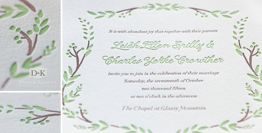 engraving on wedding invitation