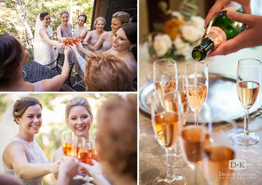 Bride and bridesmaids have a champagne toast on the deck