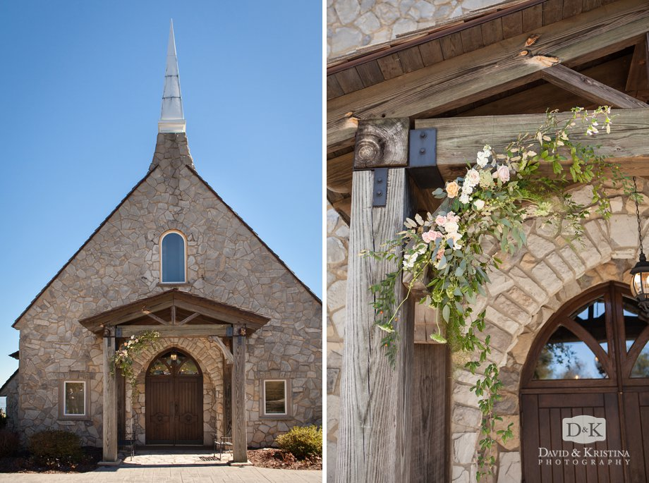floral arbor in front of chapel doors