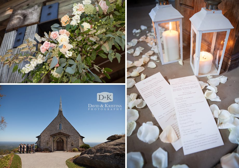 lanterns and wedding programs with white flower petals
