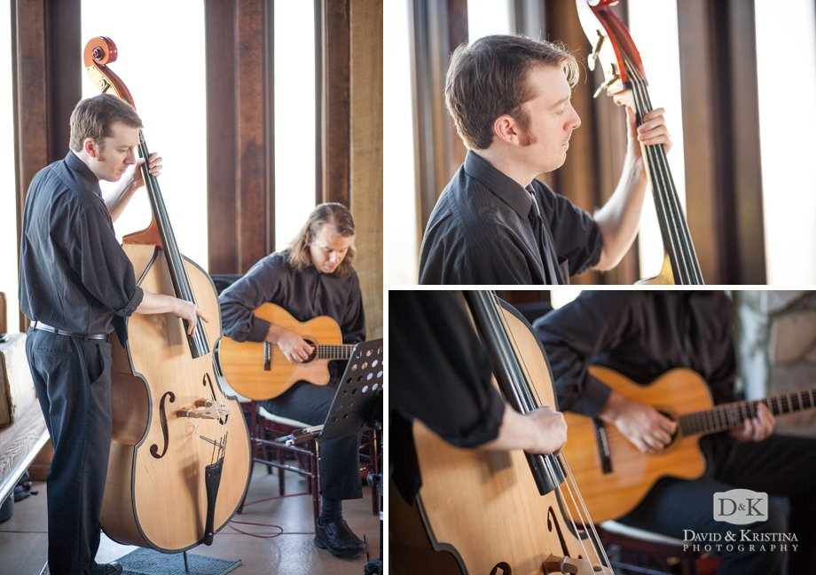 Musicians from the Erica Berg Collective play upright bass and classical guitar for wedding ceremony music.