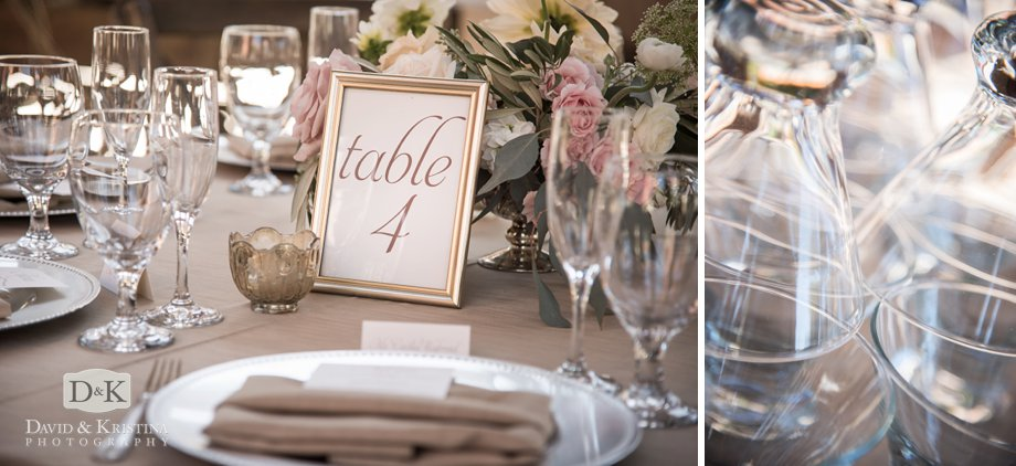 table signs and glassware
