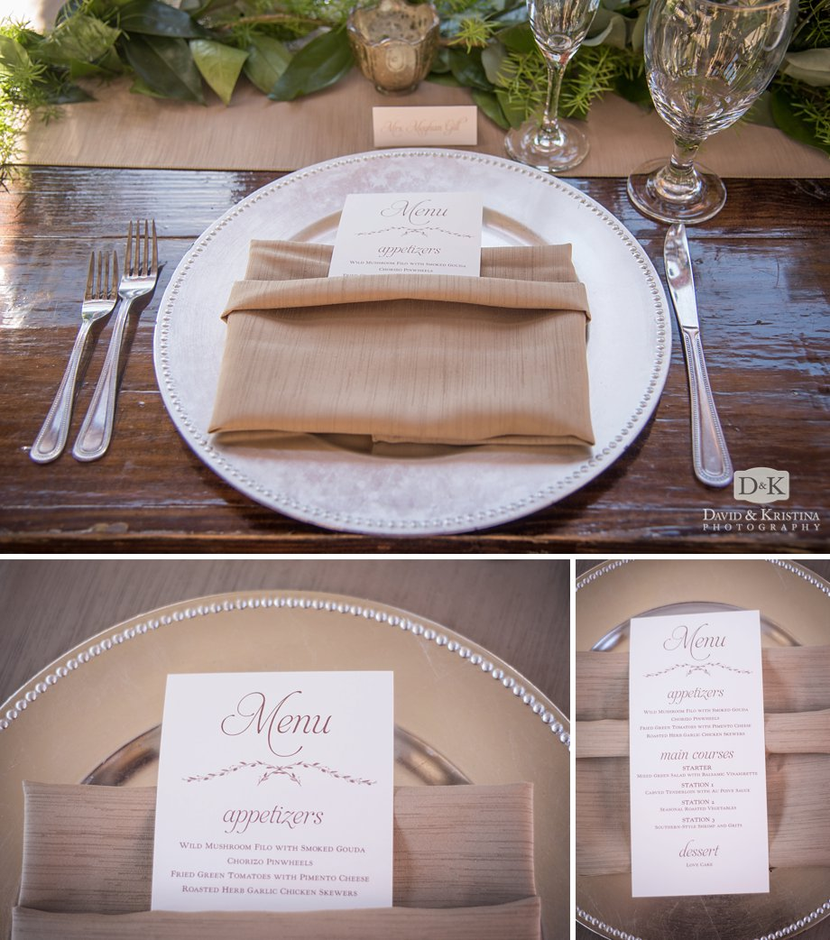 place settings and menus for wedding reception