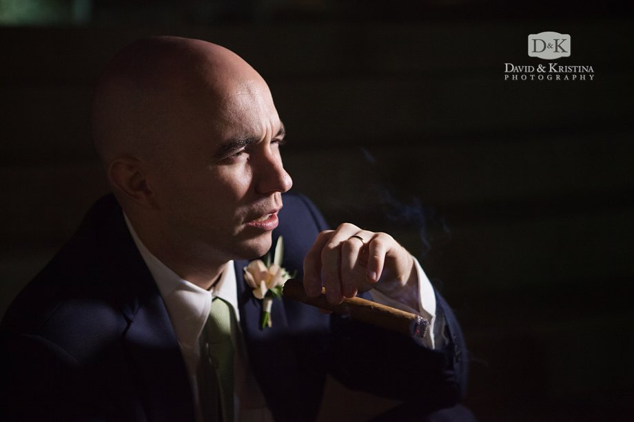 groom with a hand-rolled cigar