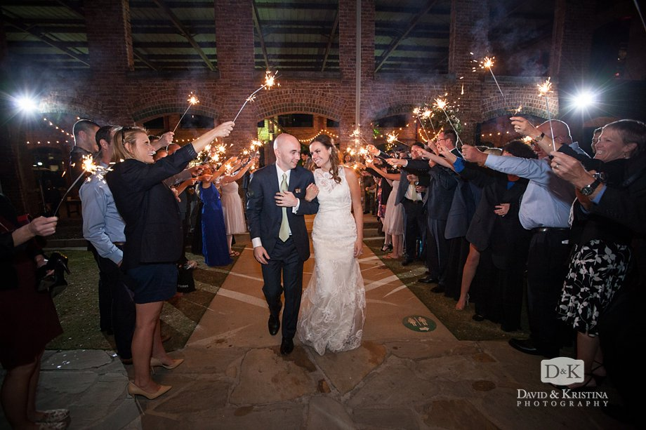 bride and groom sparkler exit at Larkin's Wyche Pavilion wedding reception