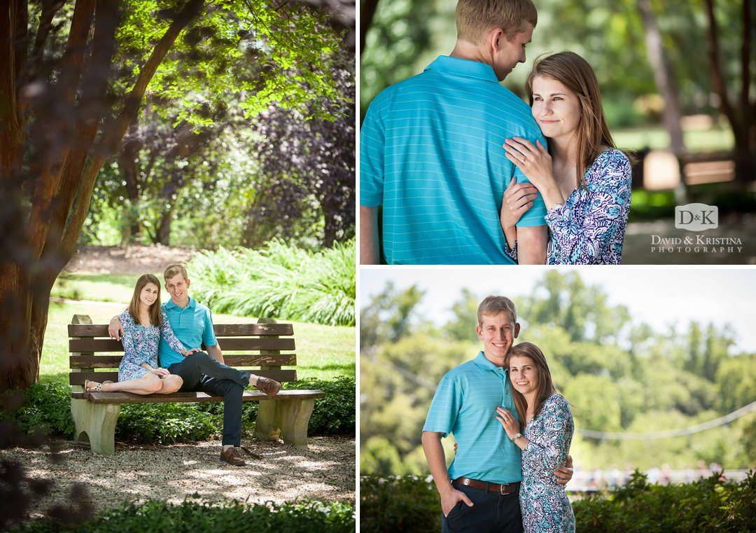 Engagement photos in Falls Park Greenville