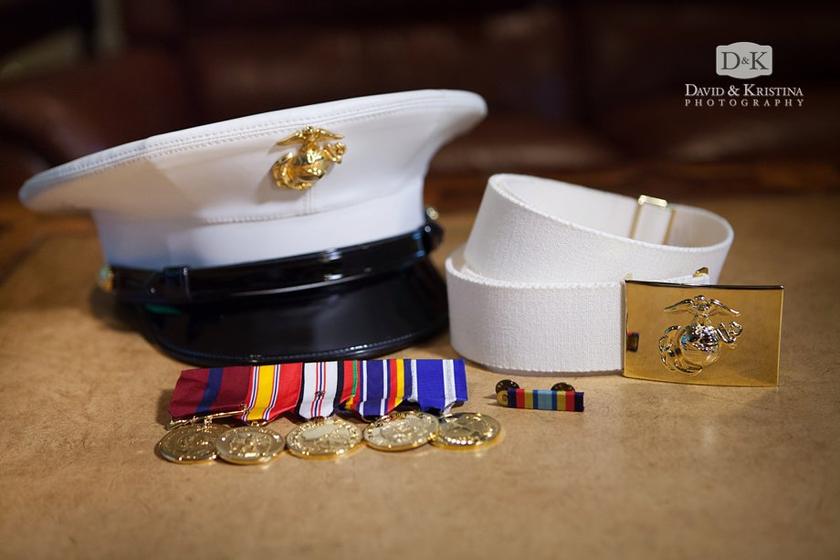 A marine's dress cover with belt and medals