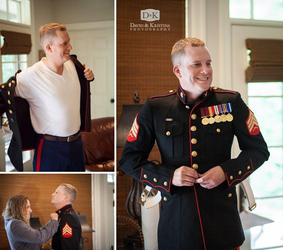 Groom putting on Marine dress blues