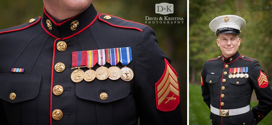 Marine in dress blues for wedding
