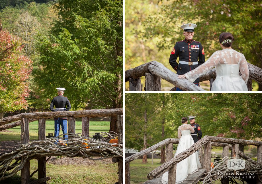 Zak waits for his bride on a rustic bridge at the Nature Center