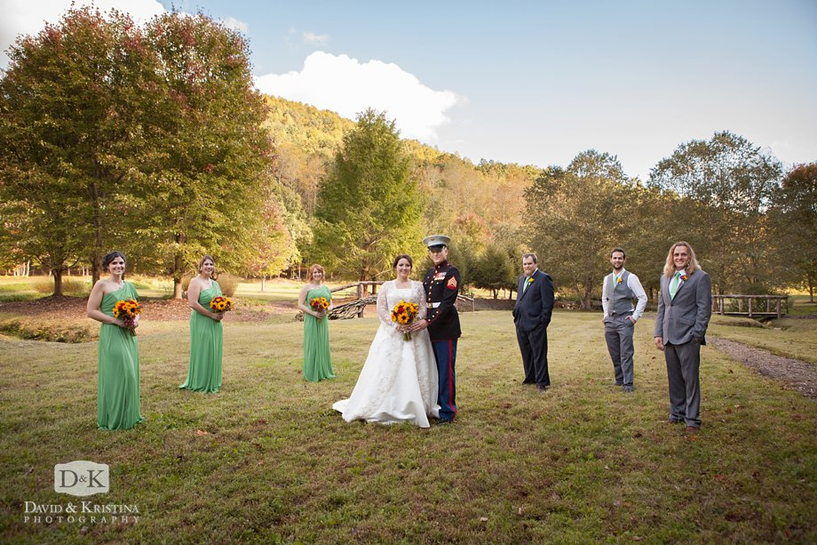 wedding party photo at The Cliffs Valley Nature Center