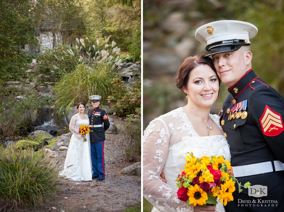 bride and groom at the nature center