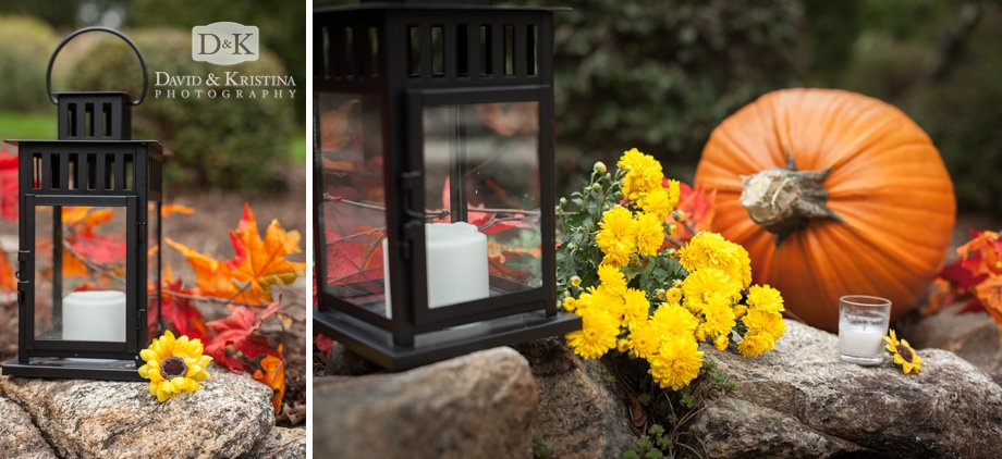 pumpkins mums and lanterns for fall wedding decorations