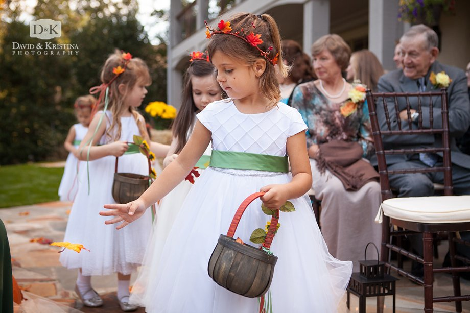 flower girls dropping colorful fall leaves instead of flowers