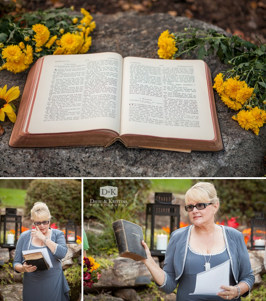 Grooms mother does scripture reading