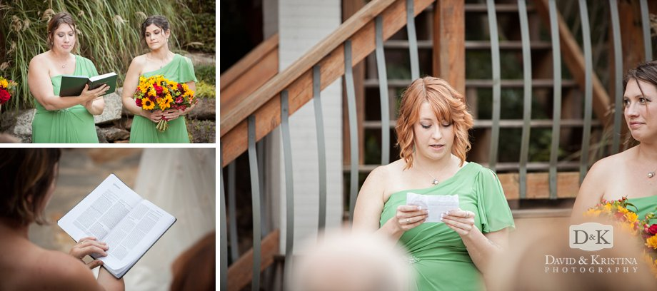 bridesmaids reading during wedding